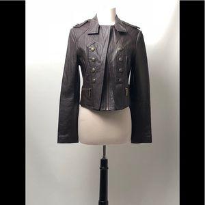 MODA INTERNATIONAL Military Style Leather Jacket